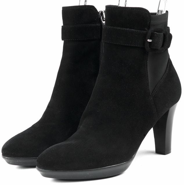 AQUATALIA Black Suede Belted Ankle Boots