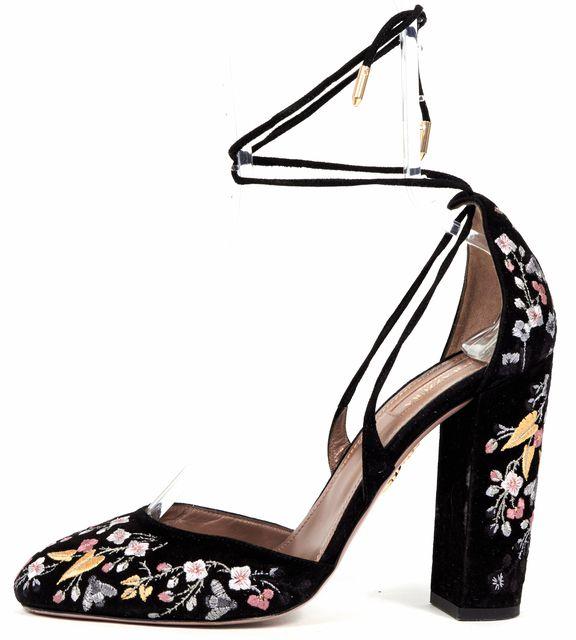 AQUAZZURA Black Multi Floral Embroidered Suede Karlie Ankle Strap Heels