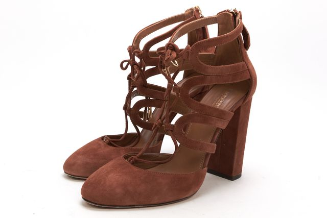 AQUAZZURA Brown Suede Holli Round Toe Caged Ankle Pump Heels