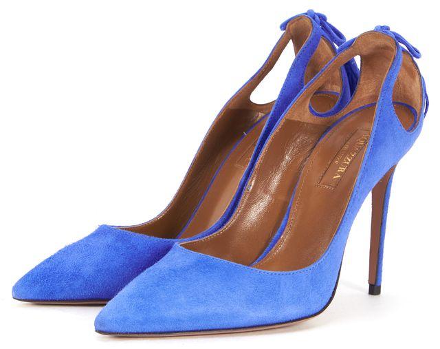 AQUAZZURA Mondrain Blue Suede Cut-Out Tassel Forever Marylin Heels