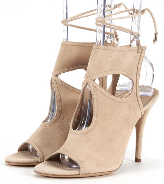 AQUAZZURA Beige Suede Leather Sexy Thing Sandals