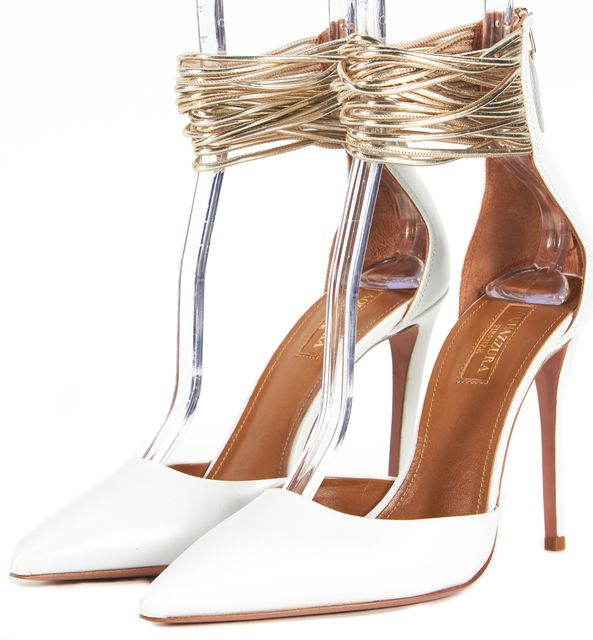 AQUAZZURA White Leather D'Orsay Ankle Strap Pointed Toe Hello Lover Heels