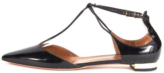 AQUAZZURA Black Patent Leather Pointed Toe Scarlett T-Strap Flats