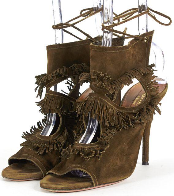 AQUAZZURA Green Suede Cut-Out Fringe Trim Sandal Heels