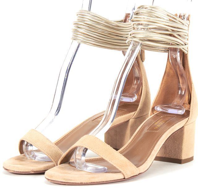 AQUAZZURA Beige Suede Spin Me Around City Sandal Heels