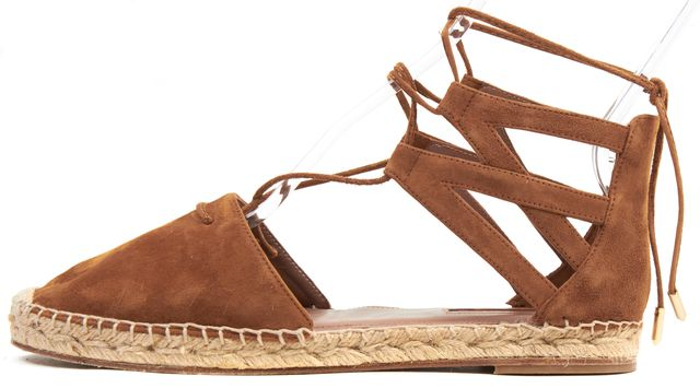 AQUAZZURA Camel Brown Suede Leather Belgravia Espadrille Sandal Flats