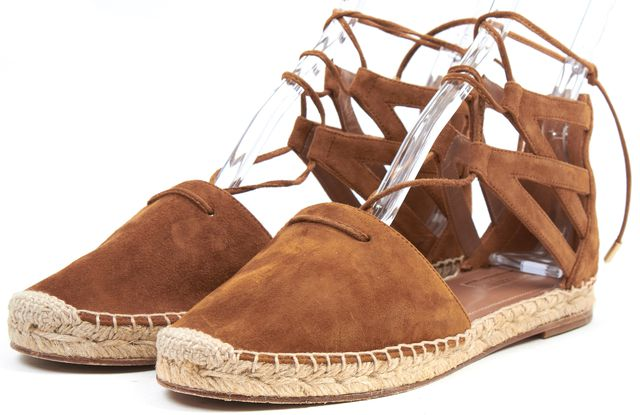 AQUAZZURA Camel Brown Suede Leather Belgravia Espadrille Sandal Flats