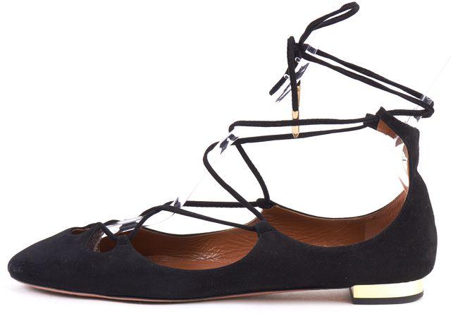 AQUAZZURA Black Suede Lace-Up Ballerina Flats