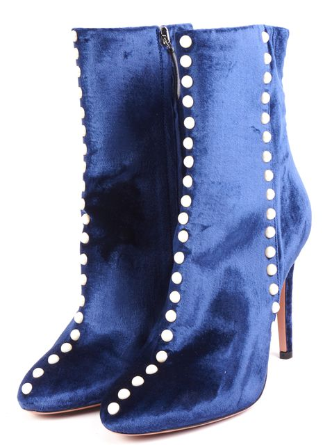 AQUAZZURA Blue Follie Velvet Ankle Boots Faux Pear Embellishmentl