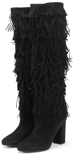 AQUAZZURA Black Suede Knee-High Woodstock Boot