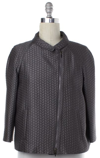 ARMANI COLLEZIONI Gray Quilted Zip Up Jacket