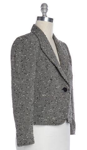 ARMANI COLLEZIONI Black White Tweed Textured Wool Blazer Size 8
