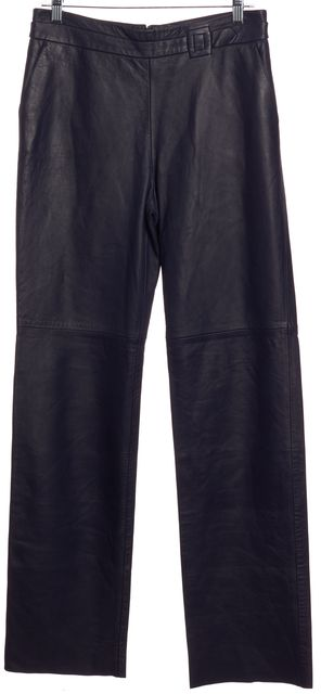 ARMANI COLLEZIONI Navy Blue Straight Leg Leather Pants