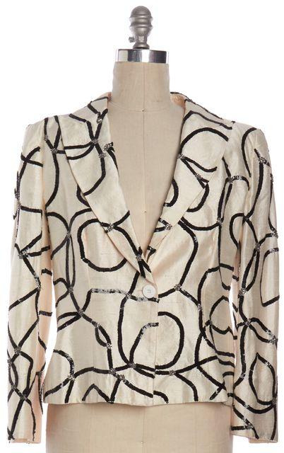 ARMANI COLLEZIONI Ivory Black Sequin Embellished Formal Blazer