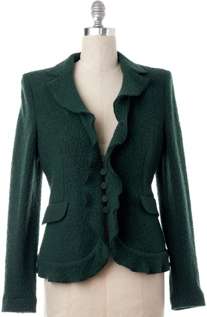 ARMANI COLLEZIONI Green Wool Tweed Ruffled Blazer