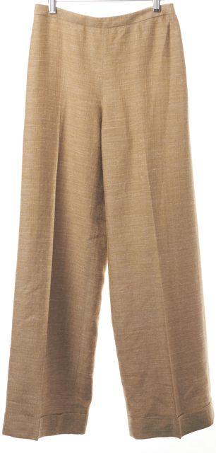 ARMANI COLLEZIONI Beige TanSilk Casual Dress Wide-Leg Crop Pants