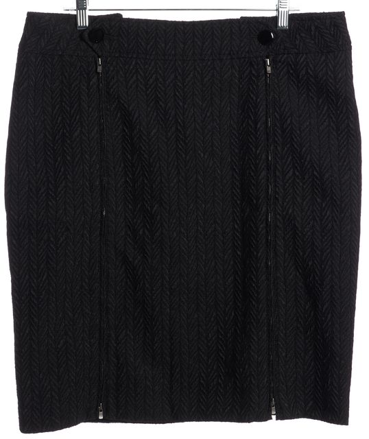 ARMANI COLLEZIONI Black Geometric Zipper Detail A-Line Skirt