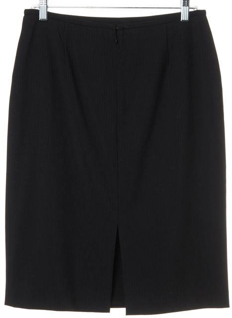 ARMANI COLLEZIONI Navy Pinstriped Wool Straight Skirt