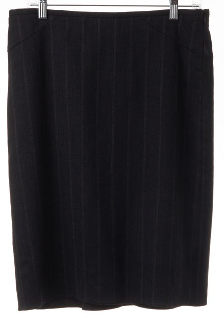 ARMANI COLLEZIONI Gray Charcoal Striped Pleated Back Straight Skirt