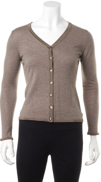 ARMANI COLLEZIONI Beige Wool Casual Knit Button Front Cardigan Sweater