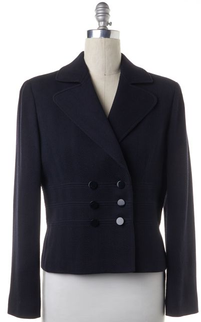 ARMANI COLLEZIONI Navy Blue Wool Double Breasted Basic Jacket