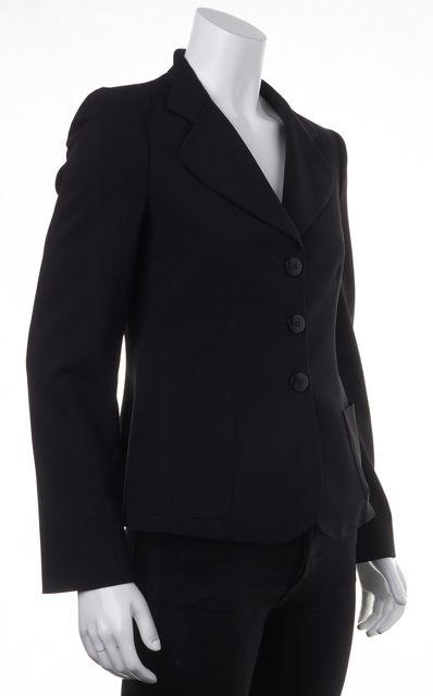 ARMANI COLLEZIONI Black Wool Casual Button Front Classic Career Blazer