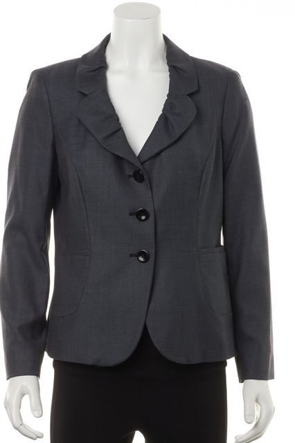 ARMANI COLLEZIONI Gray Abstract Ruffle Collar Front Pockets Basic Jacket