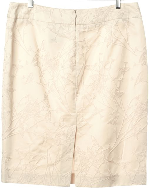ARMANI COLLEZIONI Ivory Embroidered Straight Skirt