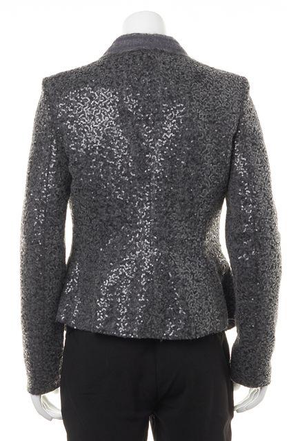 ARMANI COLLEZIONI Gray Sequin Embellished Casual Wool Basic Blazer Jacket