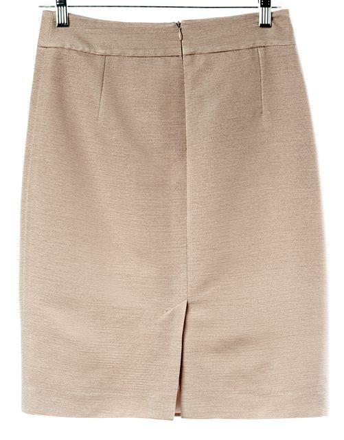 ARMANI COLLEZIONI Metallic Pink Ribbed Above Knee Straight Skirt
