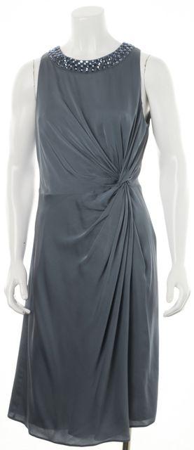 ARMANI COLLEZIONI Sea Blue Embellished Collar Sheath Dress