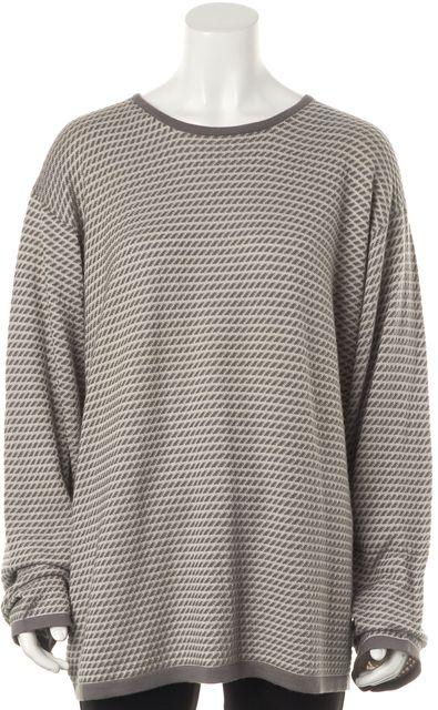 ARMANI COLLEZIONI Gray Striped Knit Crewneck Sweater