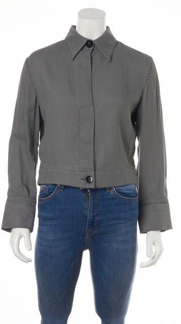 ARMANI COLLEZIONI Gray Striped Buttoned Basic Jacket