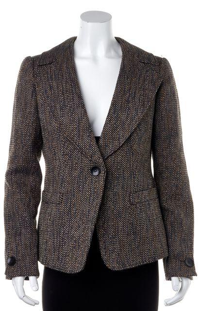 ARMANI COLLEZIONI Brown Tweed Wool Blazer