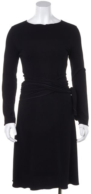 ARMANI COLLEZIONI Black Fit & Flare Knee Length Long Sleeve Dress
