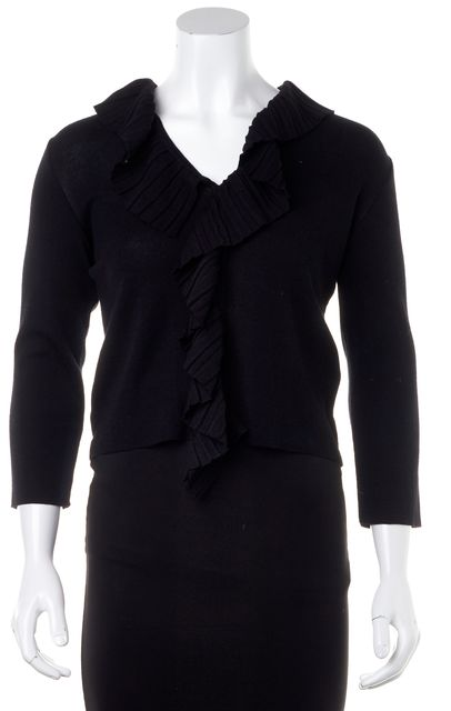 ARMANI COLLEZIONI Black Merino Wool Ruffle Trim Cardigan Sweater