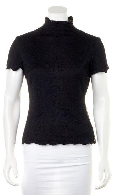 ARMANI COLLEZIONI Black Lace Short Sleeve Turtleneck Blouse