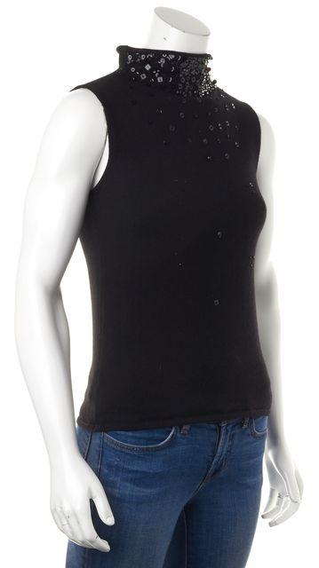 ARMANI COLLEZIONI Black Embellished Wool Mock Neck Sleeveless Knit Top