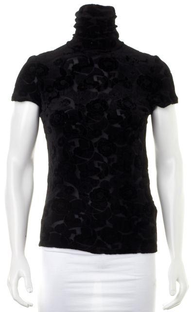 ARMANI COLLEZIONI Black Sheer Velvet Rose Floral Turtleneck Top