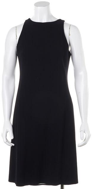 ARMANI COLLEZIONI Black Wool Casual Sheath Sleeveless Career Dress