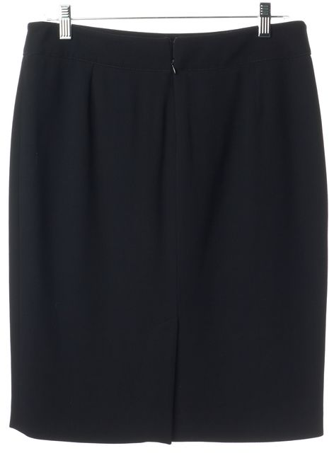 ARMANI COLLEZIONI Black Wool Straight Skirt