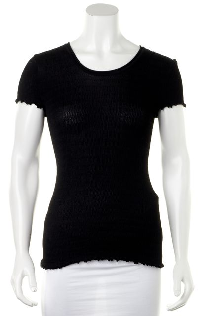 ARMANI COLLEZIONI Black Knit Ruffle Hem Rusched Short Sleeve Top