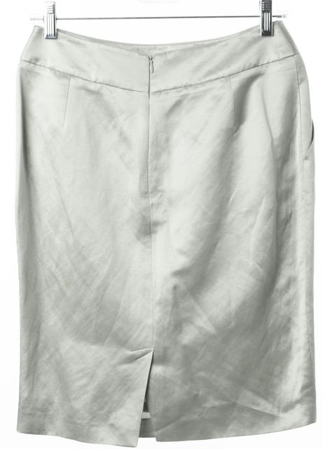 ARMANI COLLEZIONI Linen Mint Green Straight Skirt
