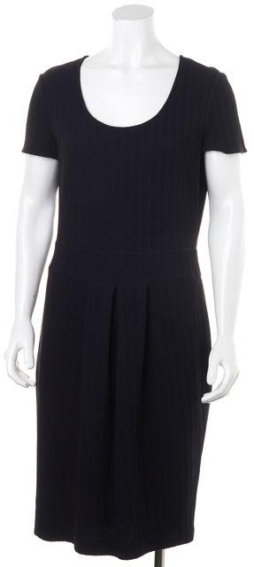 ARMANI COLLEZIONI Navy Blue Black Wool Short Sleeve Sheath Dress