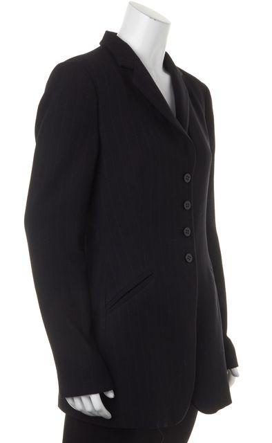 ARMANI COLLEZIONI Black Pinstriped Wool Long Blazer Jacket