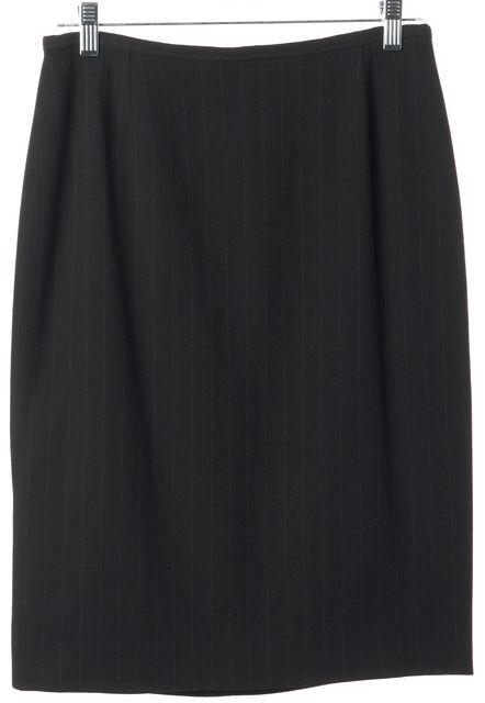 ARMANI COLLEZIONI Black Pinstripe Wool Pencil Skirt