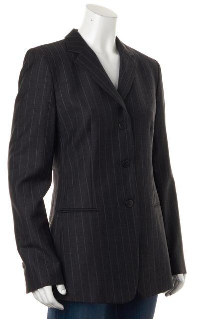ARMANI COLLEZIONI Gray Pinstriped Pocket Front Blazer