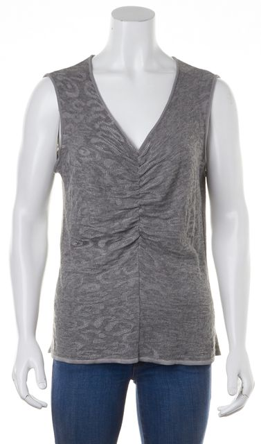 ARMANI COLLEZIONI Gray Abstract Sleeveless V-Neck Ruched Knit Top