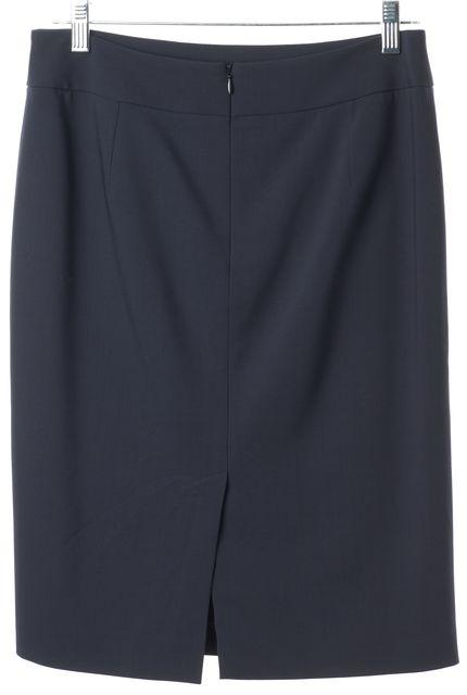ARMANI COLLEZIONI Navy Blue Wool Straight Skirt