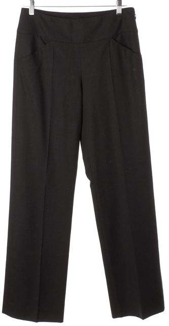 ARMANI COLLEZIONI Charcoal Gray Wool Pleated Trouser Dress Pants